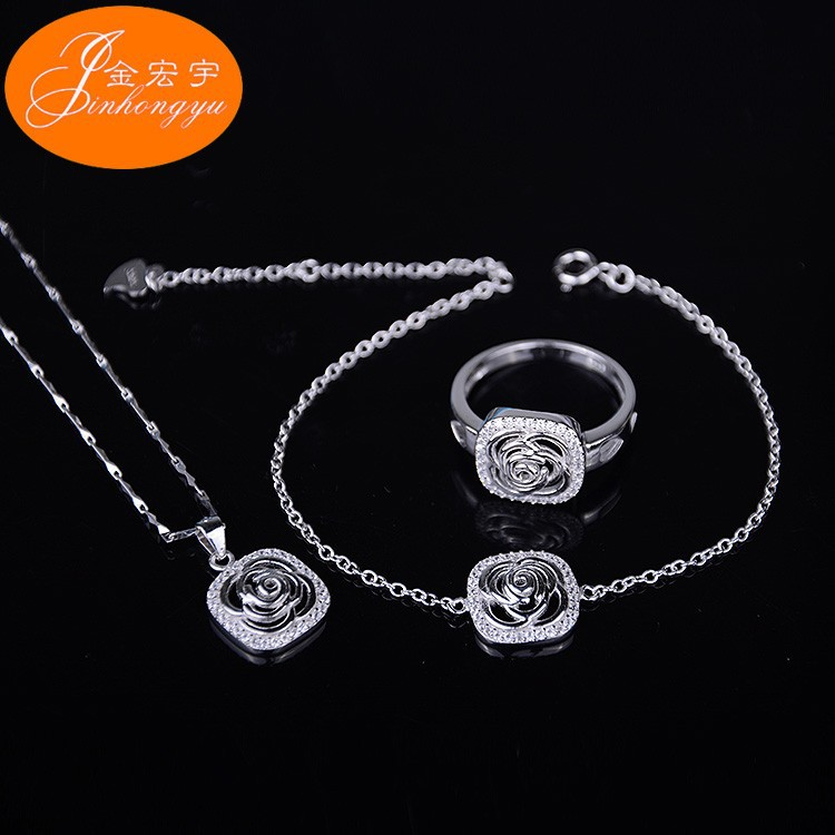 2015 Factory direct sale 925 sterling silver wedding jewelryset wholesale