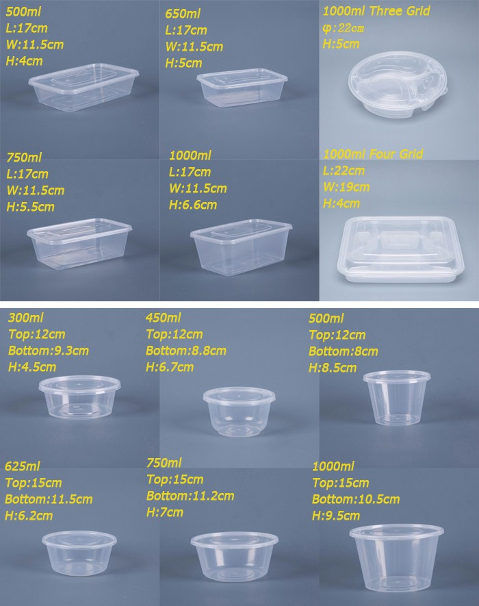 Disposable Microwavable Round Pp Plastic Food Containers For