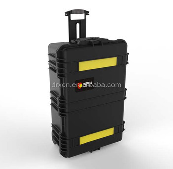 New plastic big size carrying case with wheels and customized foam