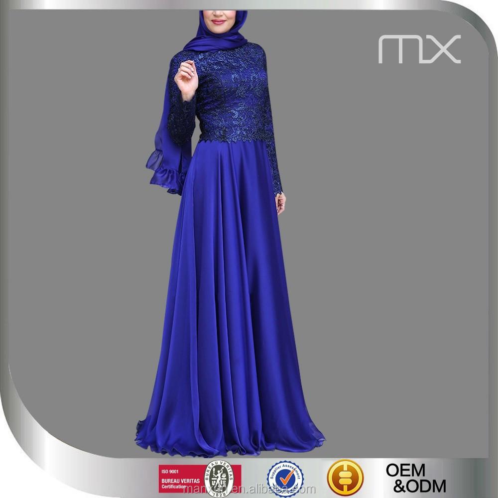 Koningsblauw kleur jurk nieuwe mode chiffon maxi jurken for Islamitische sportkleding vrouwen