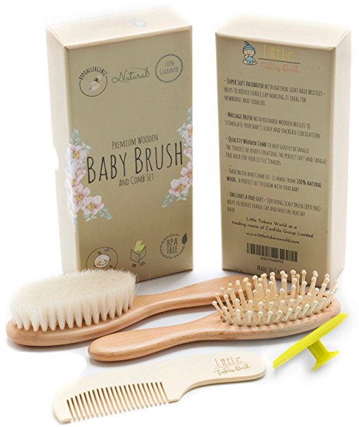Wooden Baby Hair Brush & Comb Set Healthcare and Grooming Kit