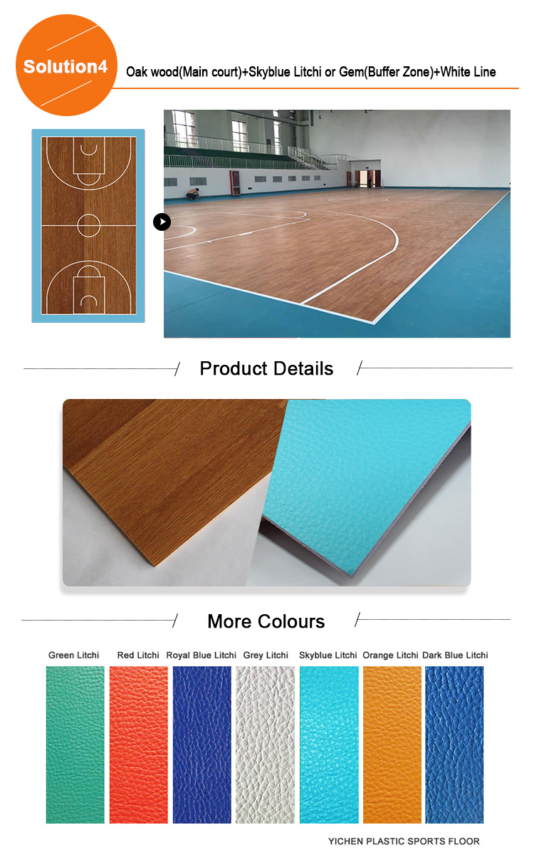 Madera imitar de plástico de baloncesto pisos de los precios de los