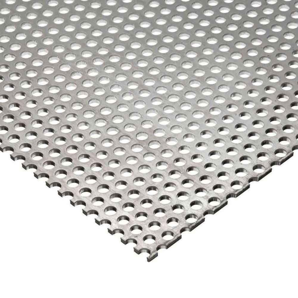 "Online Metal Supply 304 Stainless Steel Perforated Sheet, Thickness: 0.075 (14 ga.), Width: 12"", Length: 12"", Hole Size: 0.125 (1/8""), Staggred 0.188 (3/16"")"