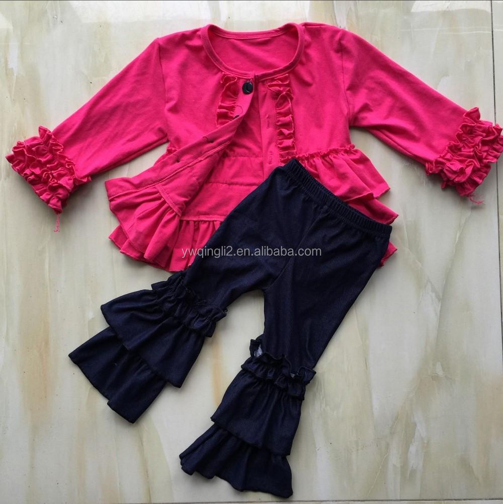 Ql-379 Hot Pink Jacket Ruffle Thin Coat And Jeans Ruffle Denim ...