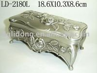 Pewter Polished Metal Jewelry Box
