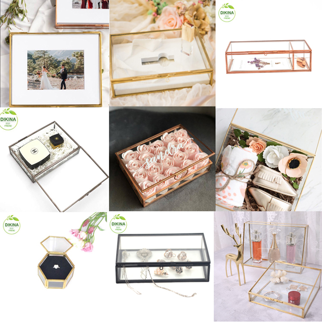 wholesale small clear luxury packing display crafts single wine gift trinket shadow 4*6 5*7 photo jewelry glass and brass box