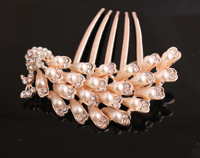 Hot Pearl Rhinestone Peacock Wedding Bridal Hair Comb Hairpin Clip Jewelry