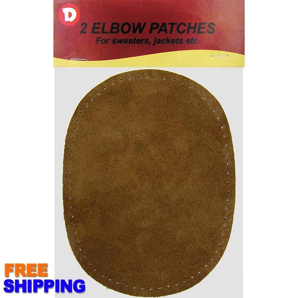 """Dritz Suede Cowhide Elbow Patches 4-3//4/""""X6-5//8/"""" 2//Pkg-Dark Brown"""