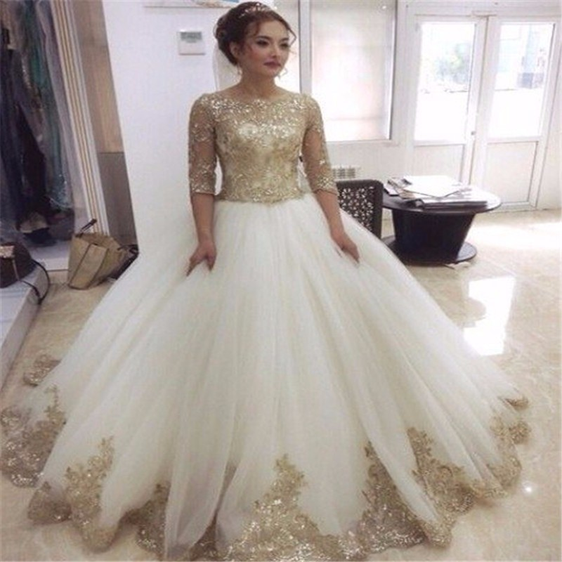 1964db1add30 2016 Bridal Gowns White And Gold Country Western Wedding Dresses With  Sequined Appliques Lehenga Choli Bridal Gowns