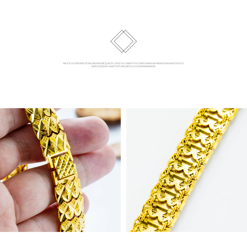 Fashion New Design Mens Jewelry Copper 18K Bracelet Gold Plated