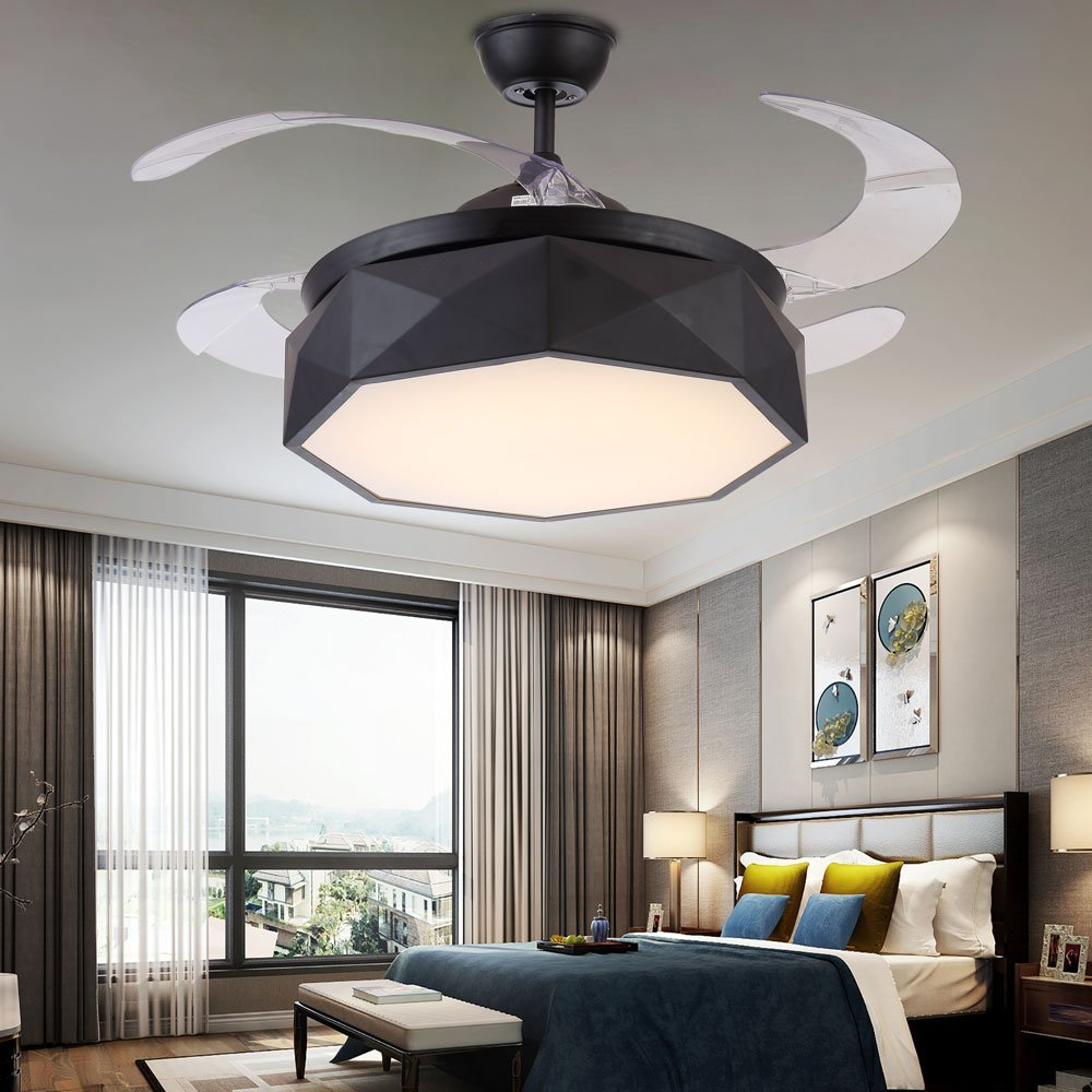 42 black ceiling fan remote control get quotations tiptonlight black ceiling fan with irregular shape has white lightwarm lightneutral light cheap light find deals on