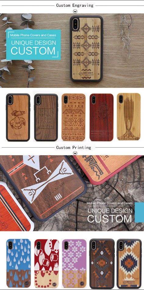 Universal Phone Case For iPhone X XR XS MAX,  TPU  Cell Phone Covers High Quality Ebony Wood Phone Case