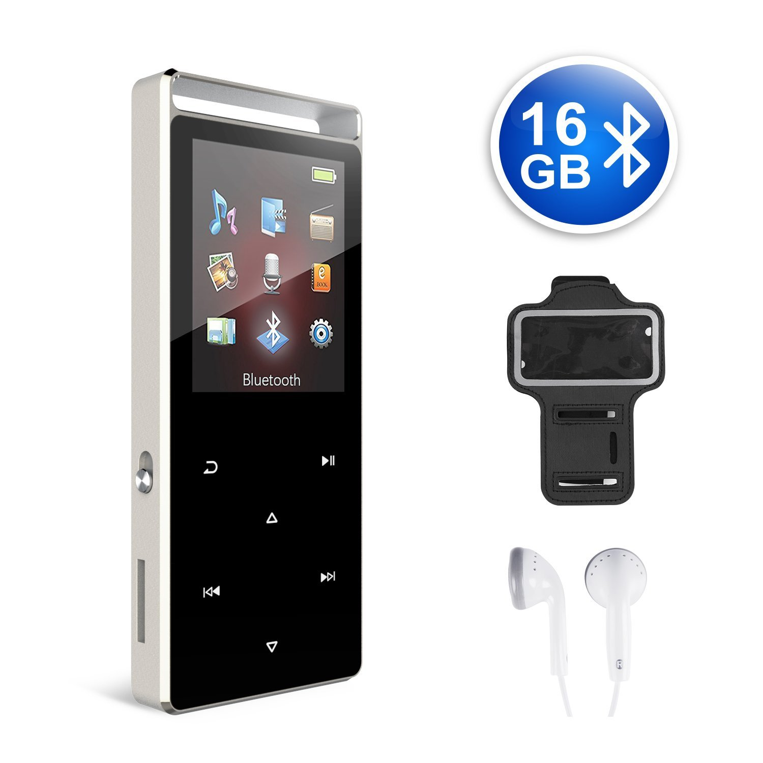 MP3 Player 16GB Bluetooth MP3 Digital Music Player with FM Radio, Voice Rocorder, Pedometer,HIFI Lossless Stereo Sound Metal Sport Player with Armband, Earphone, USB Cable