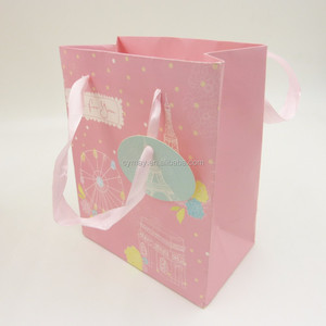 Wholesale custom printed pink paper cloth gift small bag