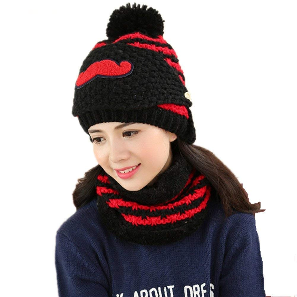 abcfeb1e85d Get Quotations · Carin Women s Cute Winter Hat Knitting Wool Ear Protection  Beanie With Beard Mask