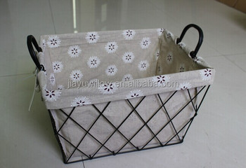 Handmade Wire Decorative Storage Basket Metal Wire Storage Baskets With  Liners