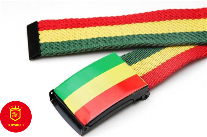 Canvas Web Belt Nickel Buckle/Tip Colorful Striped Patterns