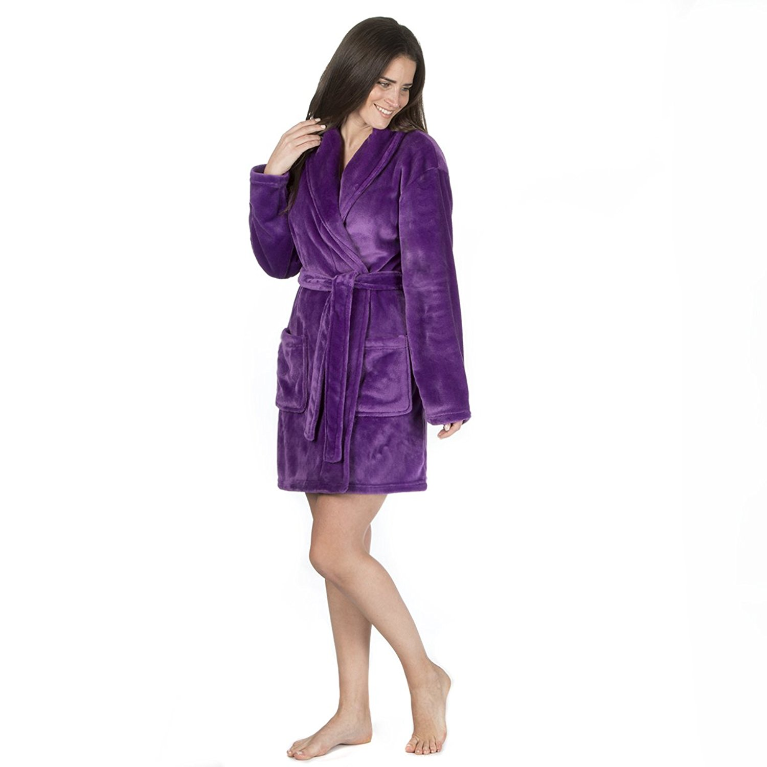 Get Quotations · Ladies Flannel Fleece Luxury Night Gown (Sizes S-XL) Shawl  Collar Bath Robe 1923f1676