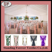 Hotel curly chiffon decorative cheap chair covers chair sashes