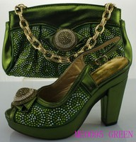 ME0095 green new fashion italian matching shoes and bags nigeria wedding shoesmatching bag set