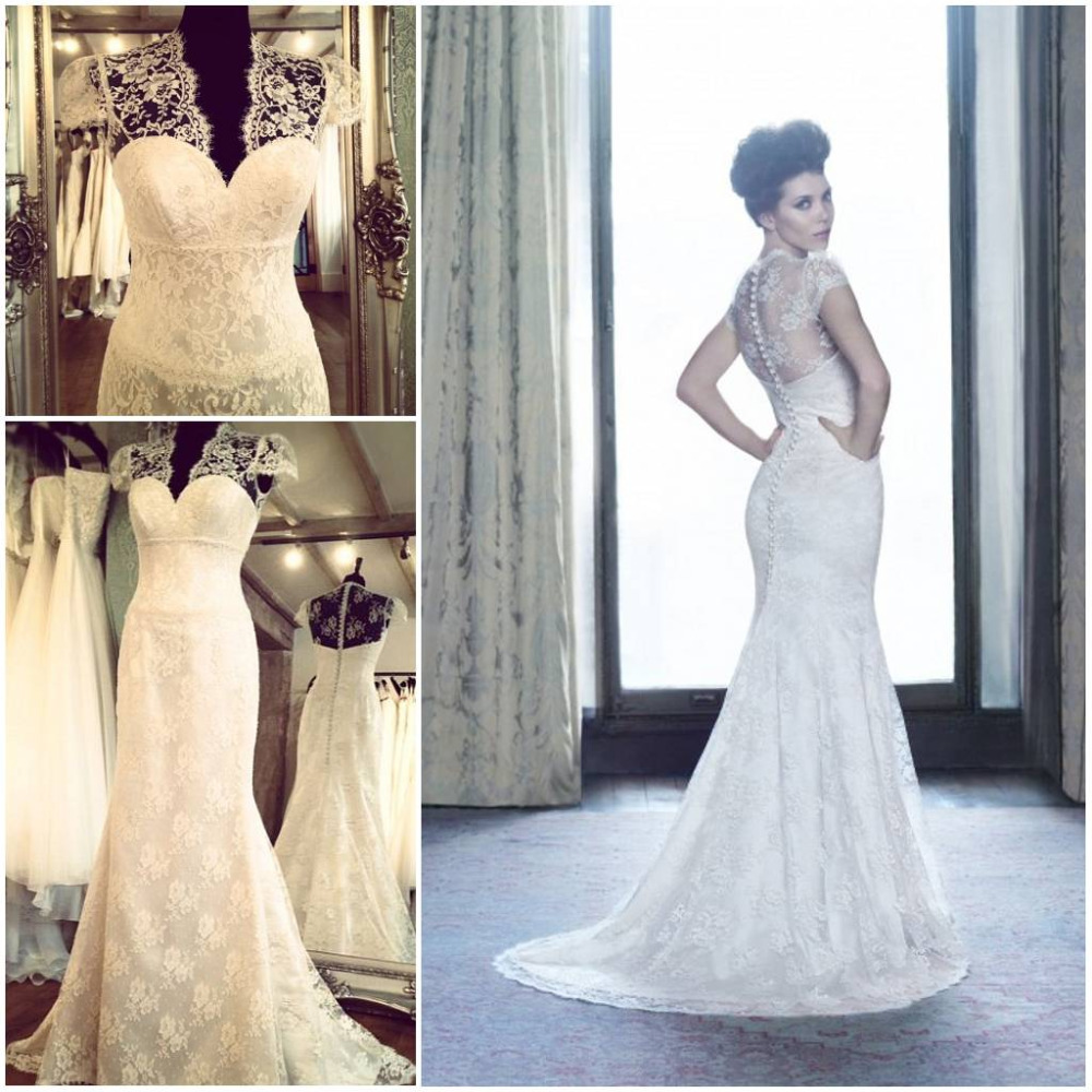 French Lace Mermaid Wedding Dress: 100% Real Sample Vintage Soft French Lace Wedding Dress V