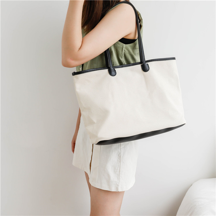 Canvas bag shoulder female 2018 han edition of the new simple pure color joker high-capacity beach canvas bag