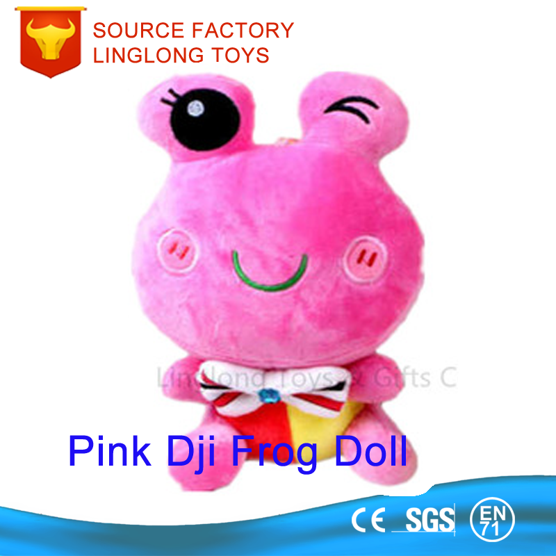 Cartoon Animal Embroidery Logo Custom Peluche Frog Toy Pink Frog Plush Toys