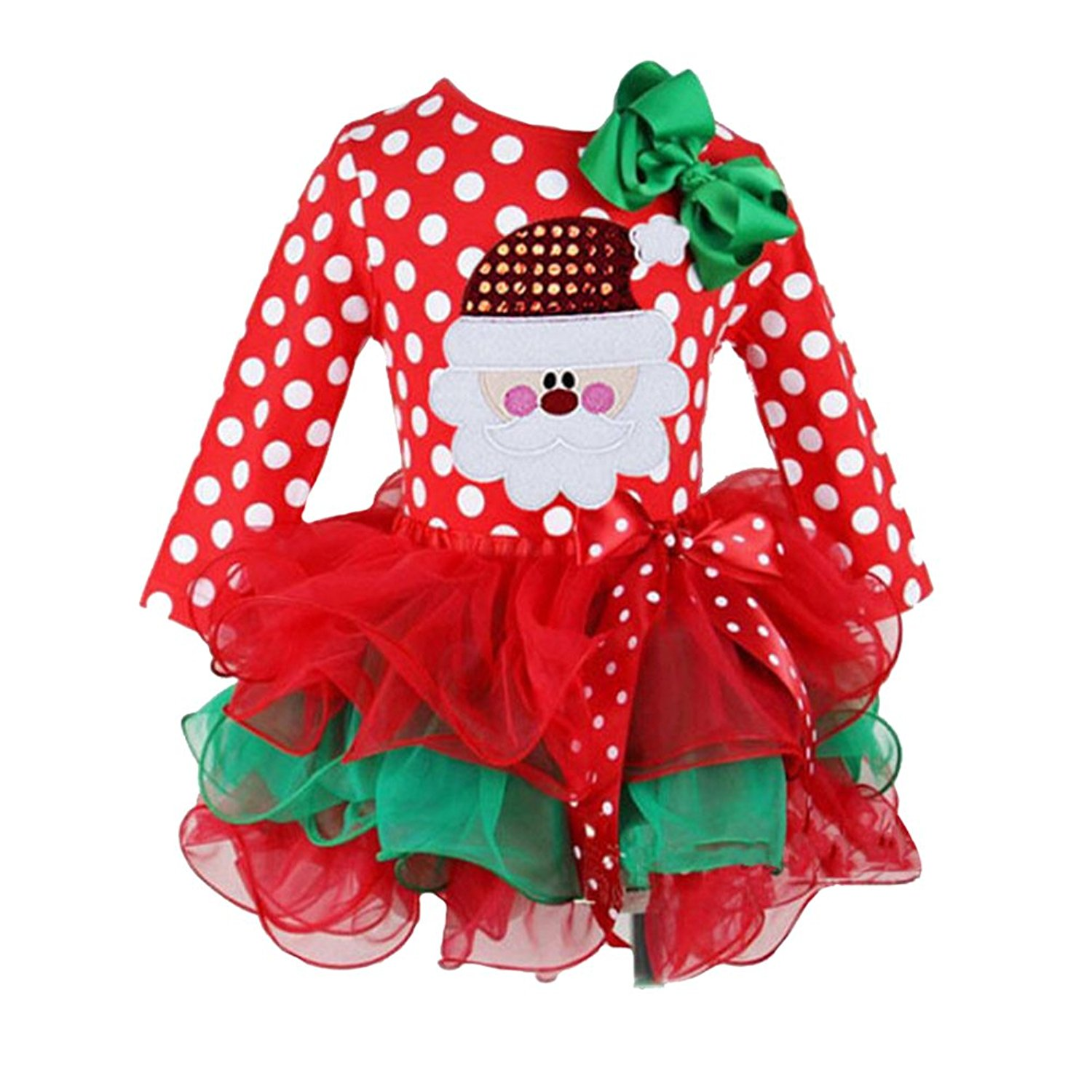 f4fe69e4276fd Get Quotations · LUOEM Christmas Baby Girl Dress Santa Dress for Babies 1-2  Years Old (Red