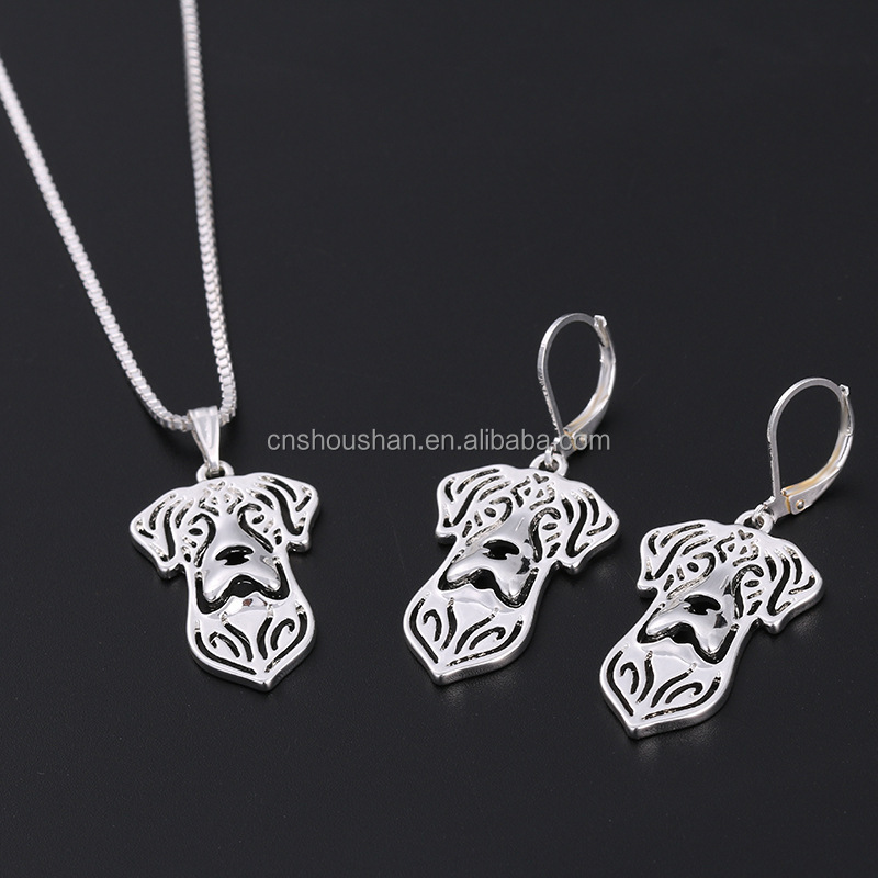 Hot Sale Chihuahua Necklace Animal Bijoux Hollow Out Pet Dog Pendant Necklace Earrings Set Valentine's Day Gift For Pet Lovers