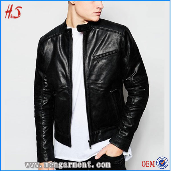 Best Selling Leather Jackets Black Fashion Custom Man Leather Jacket With Padded Shoulder For Men
