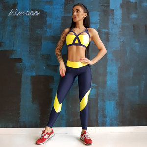 Sexy Bandage Fitness Yoga Wear Suit Sports Bra And Leggings Sets Gym Activewear