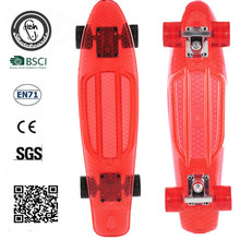 "clear red skate board complete Transparent longboard 22"" Retro mini skateboard old school cruiser longboard"