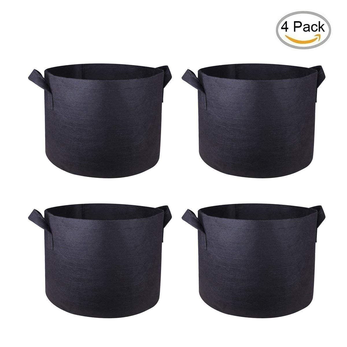 SQZW 7 Gallon Plant Grow Bags/Aeration Fabric Pots with Handles (4 Pack, Black)