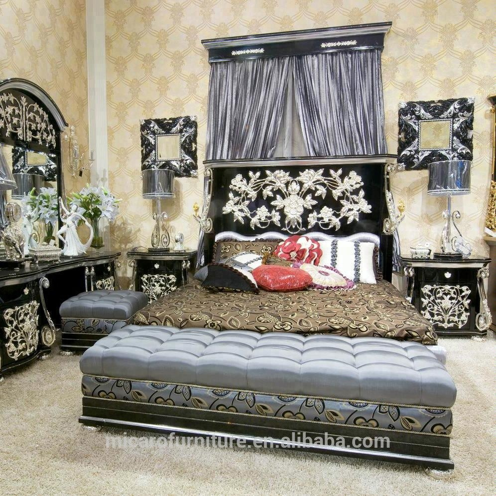 Latest Antique Royal Style Black Color Pakistan Luxury Wood Double Bed Designs With Silver Foil Buy Wood Double Bed Designs Luxury Wood Double Bed