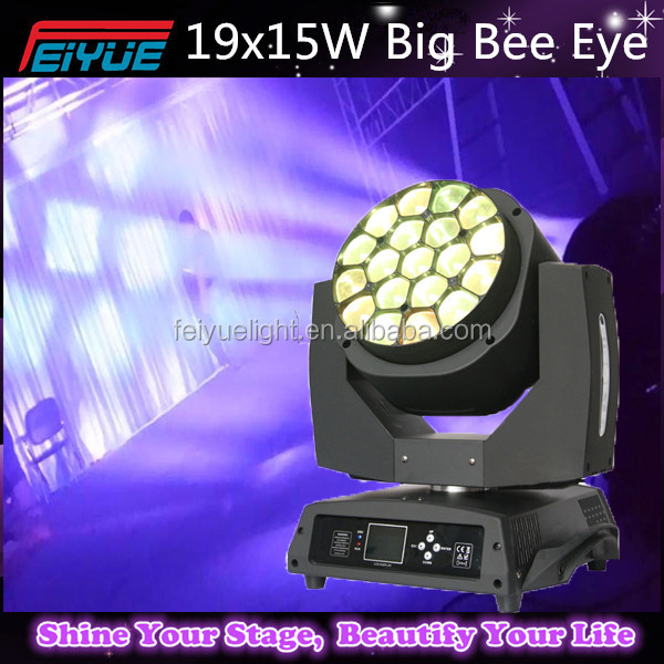 High Power 19x15W Bee Eyes 4in1 Led RGBW Beam+Wash+Zoom Lights,450w Moving Head (With original Led 19pcs 15w lamp source)