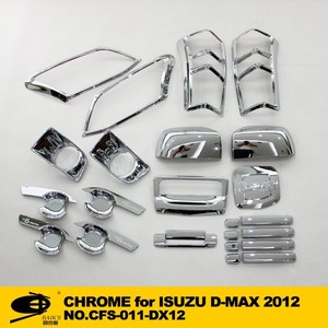 Complete Full Set of Exterior Chrome accessories with 3M Tape fitsISUZU D-MAX 2012 chrome car accessories