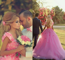 2016 Long Ball Gown Pink Prom Dresses Saudi Arabia Square Neckline Sleeveless Vestidos De Noiva Court Train Bridal Gown z61109