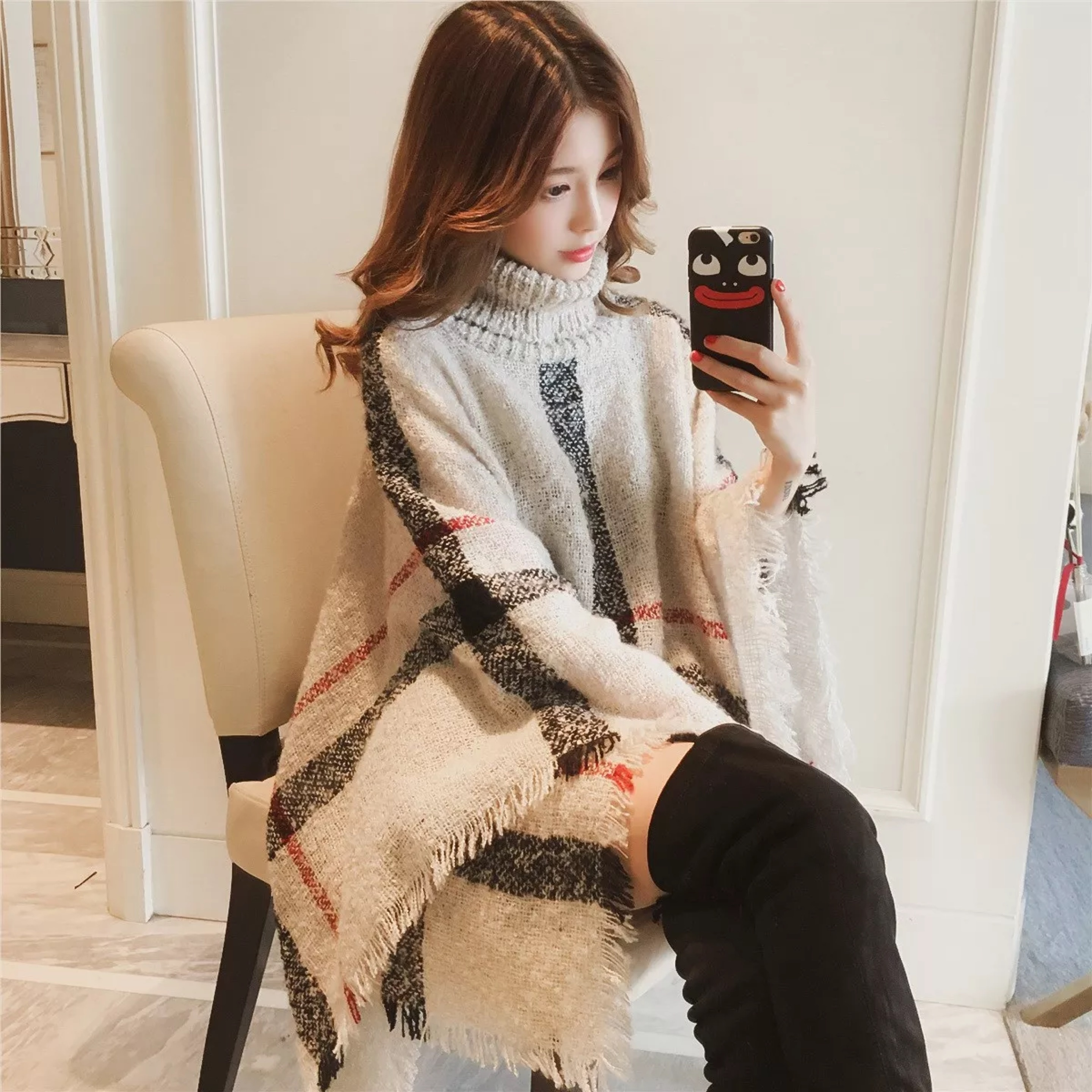 Factory Outlet Tassel Fashion Knitted Turtleneck Women Sweaters Mujer Poncho Mexicano Pullovers Jumper