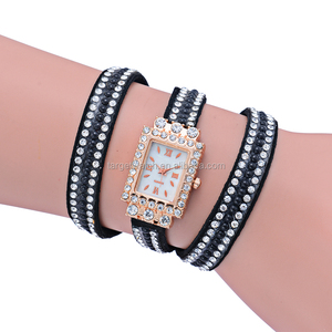 Women Watches Inlaid Rhinestones Bracelet Watches Timepiece with PU Leather Band