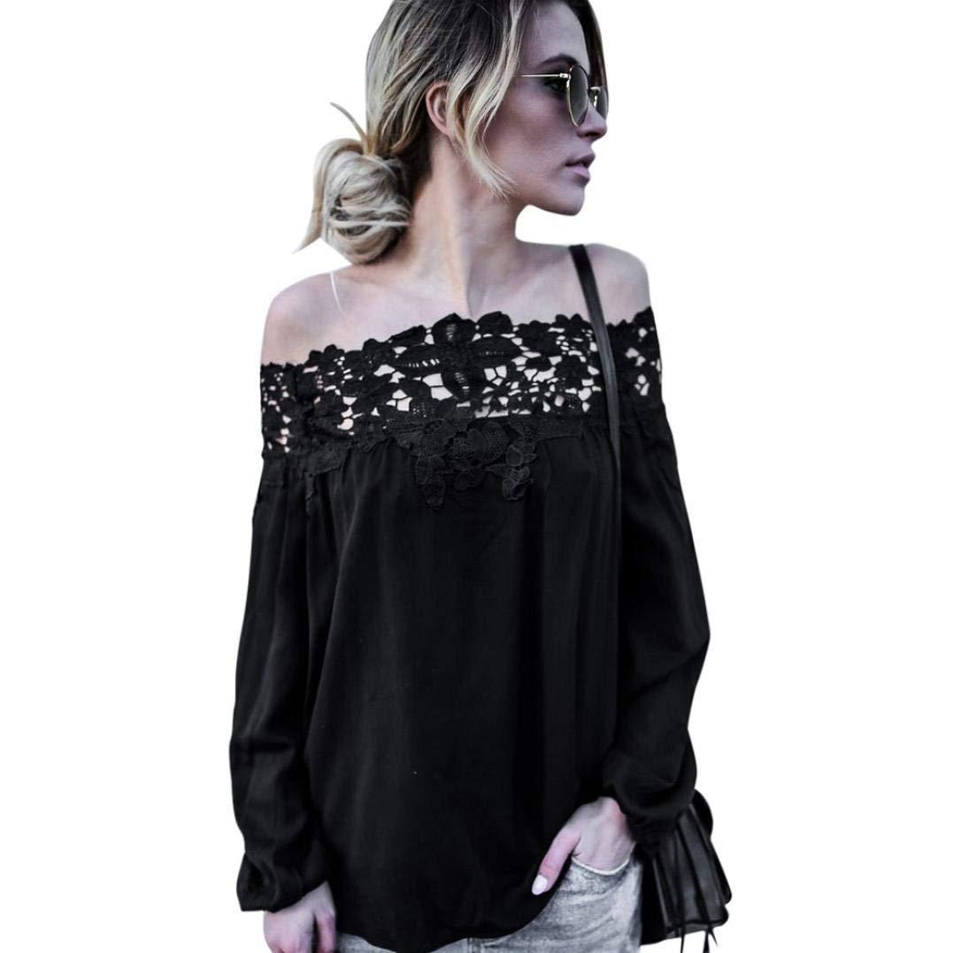 Lace Blouse,Han Shi Women Summer Off Shoulder Long Sleeve Soft Tops Casual T Shirt