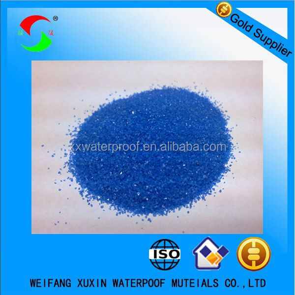 Colored mineral granules blue sand