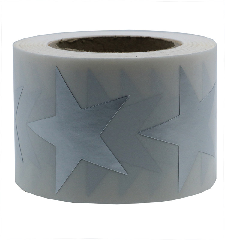 Hybsk Silver Golden Star sliver Stickers Metallic Foil Labels 1.5 Inch 500 Total Per Roll (1 Roll)