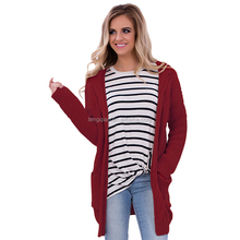 Long Sleeve Knit Open Front Women Cardigan 2017 with Pockets