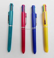 4 Color Ball Pen With metal clip,4 ink color Multi colour pen
