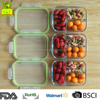 3 Compartment Glass Food Storage Container With Airtight Lid