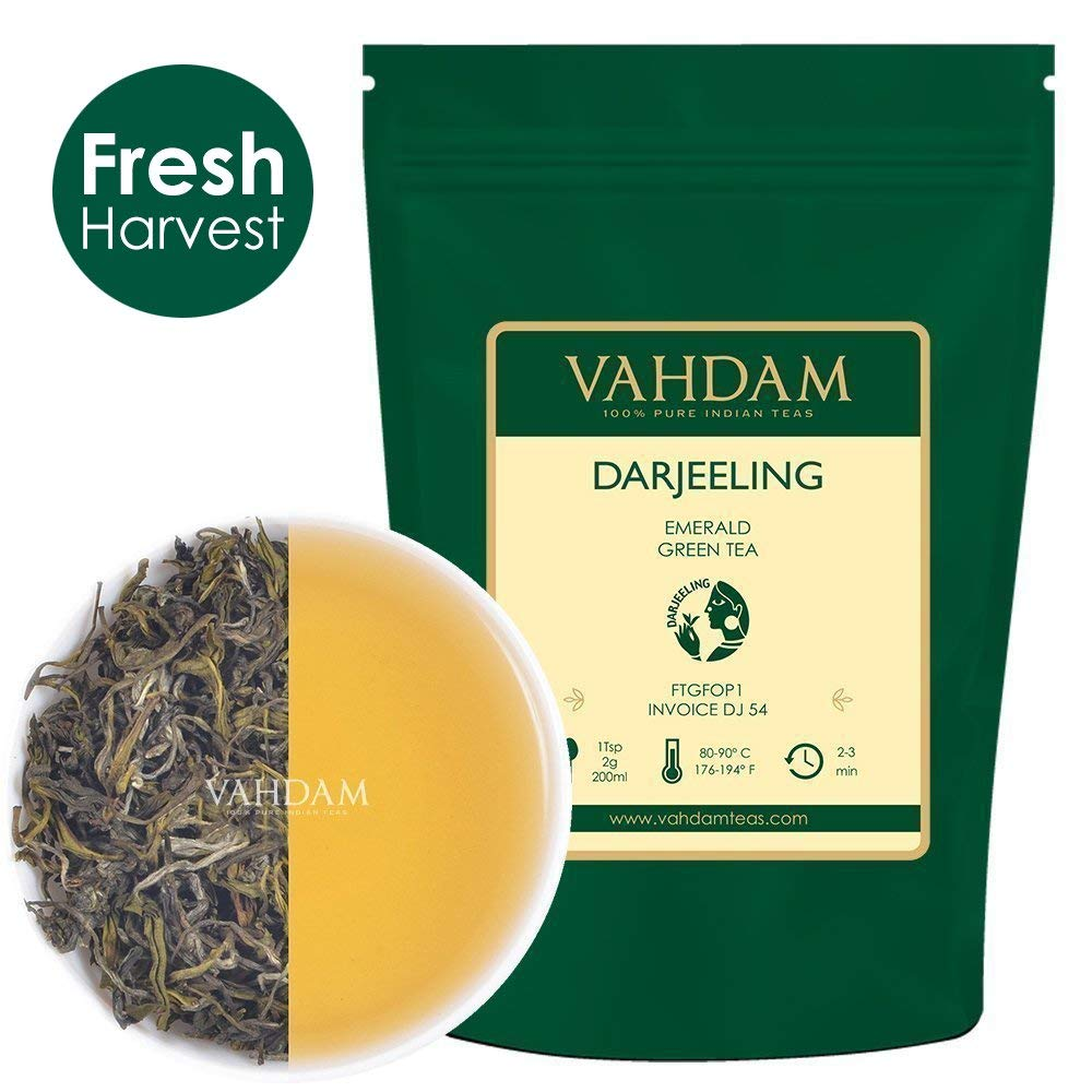 VAHDAM, Darjeeling Emerald Green Tea Loose Leaf (50 Cups) | Pure Green Tea Leaves | RICH ANTI-OXIDANTS | Natural Detox Tea, Slimming Tea, Weight Loss Tea | Brew as Hot Tea or Iced Tea | 3.53oz