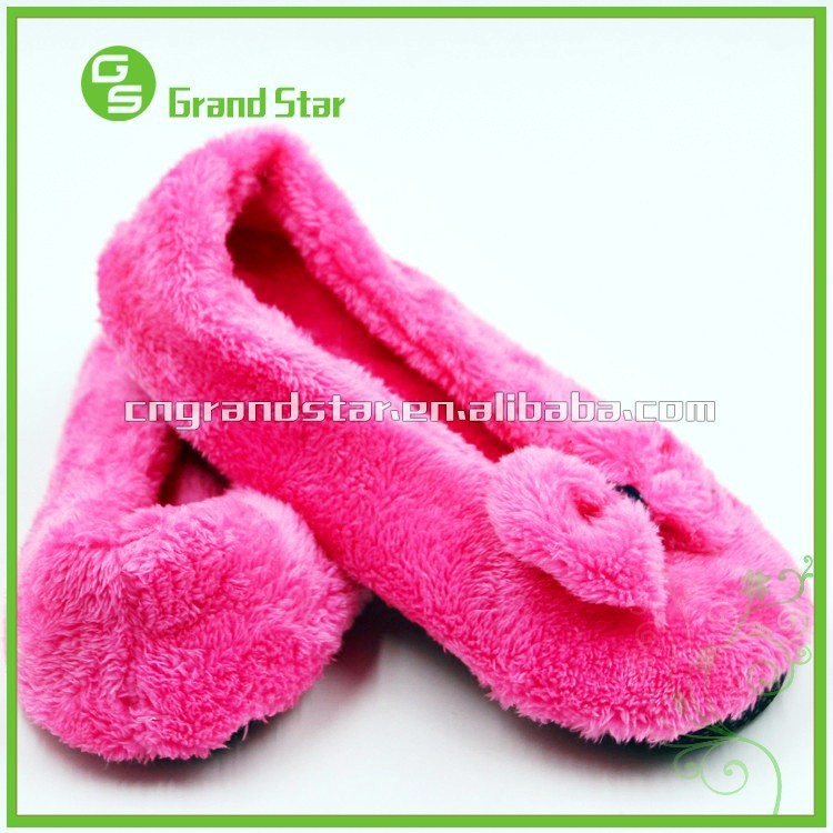 Furry Plush Warm Ladies Dancing Home Indoor Soft Slipper Shoes ...