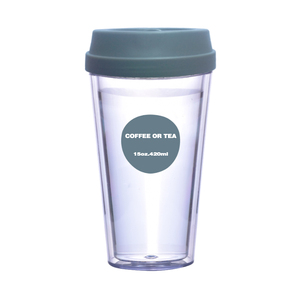New Design Transparent Hot Cold Drink Reusable Plastic Cup Custom Printed Logo Double Wall Coffee Cup Wholesale