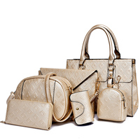 2015 Newly designed high-quality women leather bag factory supplier six bags in one set wholesale lady handbags totes