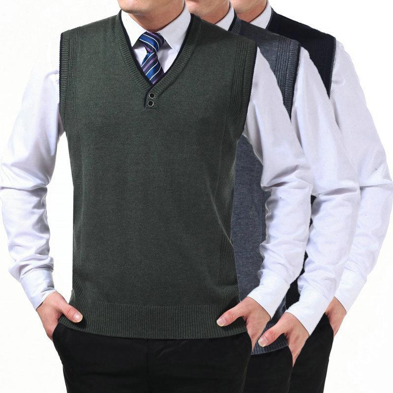 Марка мужские трикотаж жилет осень и зима с v-образным вырезом шерсть сплошной высококлассные мужской перемычки colete masculino de inverno